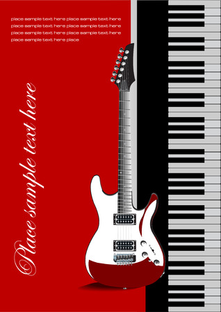 octave: Piano with guitar. Vectoral cover for brochure