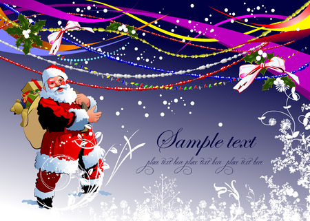 Greeting card for Christmas and happy New Year Illustration