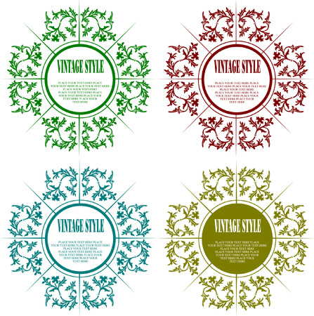 Set of Vintage frame vector illustration Vector