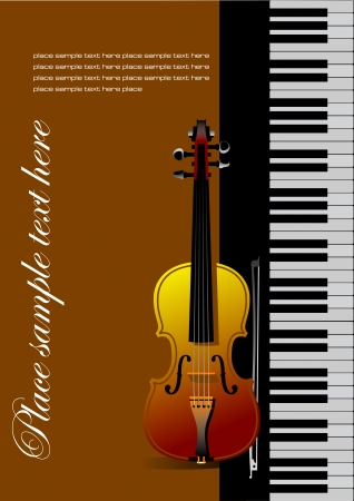 Piano with violin vector illustration