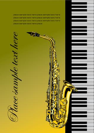 geigen: Piano mit Saxophon Vektor-Illustration f�r Ordner oder die