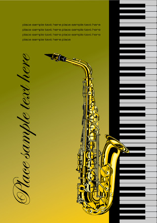 Piano with saxophone vector illustration for folder or cover