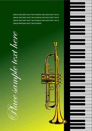 trumpet vector: Piano with trumpet vector illustration for folder or cover