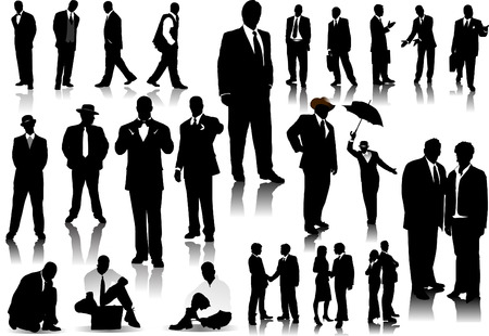 office worker: Office people silhouettes vector illustration
