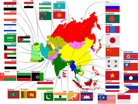 Map of Asia with country flags Vector