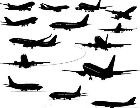 runway: Airplane silhouettes vector illustration