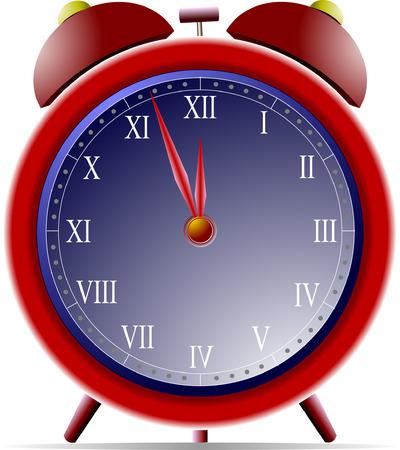 정오: New Year Night Clock vector illustration 일러스트