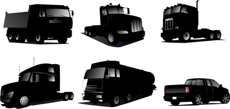 Six Vector illustration of trucks Vector