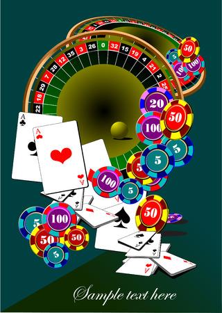 roulette game: Casino elements vector illustration