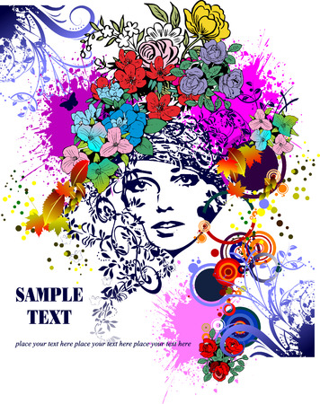 Floral woman silhouette vector silhouettes Stock Vector - 3876530