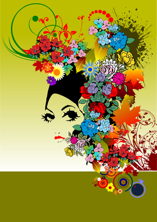 hairstyles: Floral woman silhouette vector illustration Illustration