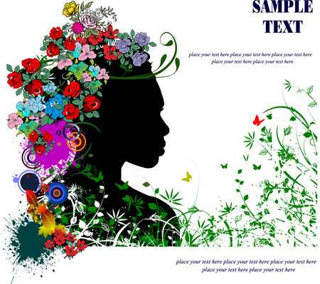 Floral woman silhouette vector illustration Vector