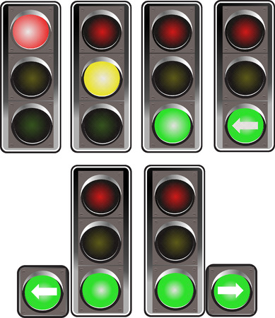 Set of traffic lights. Red signal. Yellow signal. Green signa Vector