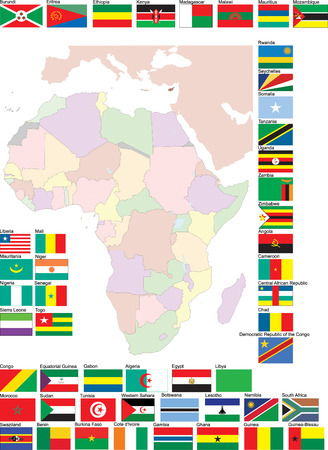Flags and map of Africa. Vector illustration Stock Vector - 4003816