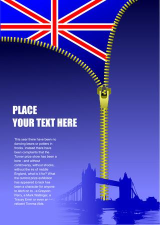 Zipper open Britain flag. Vector illustration Vector