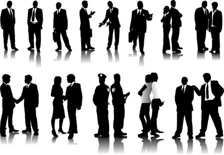 group of objects: Bureau mensen silhouetten. Vector illustration Stock Illustratie