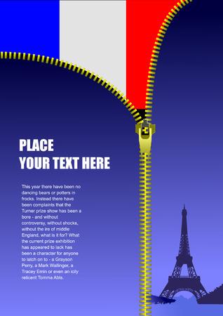 flag france: Zipper ouvrir France drapeau. Vector illustration Illustration