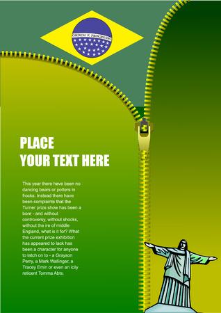 Zipper open Brazilian flag. Vector illustration