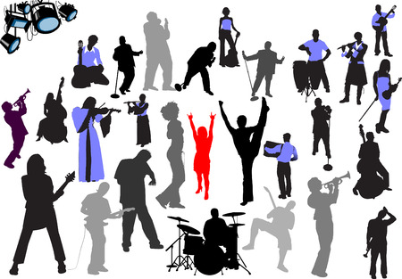 accordion: Orchestra silhouettes. 27 vector illustrations