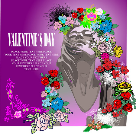 Floral Valentine`s Day Greeting card Stock Vector - 4004414