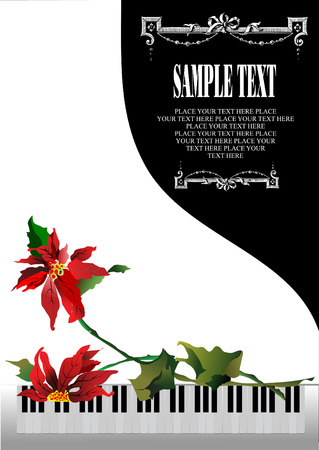Template greeting card with white piano and flower Vector