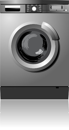 White washing machine vector illustration. Home equipment  Vector