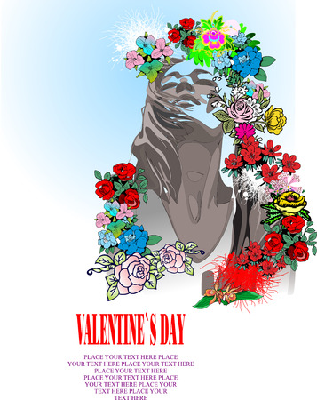 Floral Valentine`s Day Greeting card. Vector illustration Vector