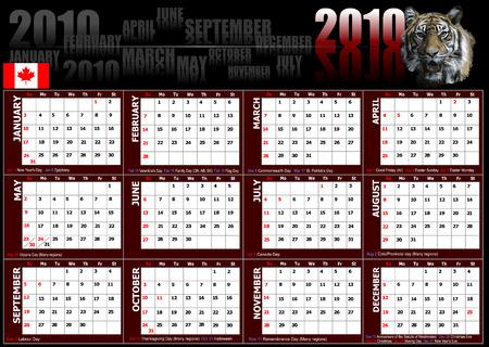 2010 calendar with Canadian holidays. Vector illustration Vector