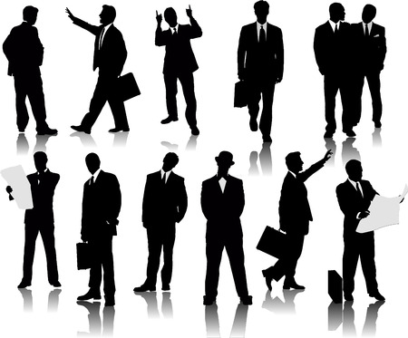 guy standing: Business people  silhouettes. Vector illustration