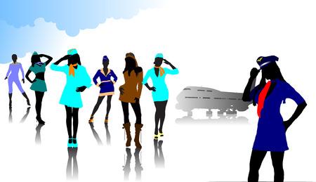 azafata de vuelo: Azafata siluetas. Ilustraci�n vectorial