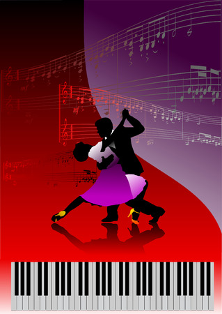 Piano with dancing couple and printing music. Vector