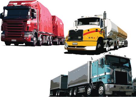 Colored Vector illustration of three trucks Stock Vector - 4105826