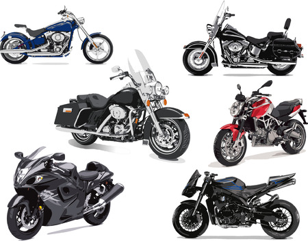 Six vector illustrations of motorcycle Illustration