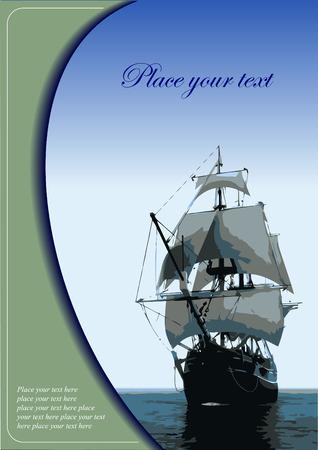 sailing vessel: Cubierta para el folleto con el antiguo velero