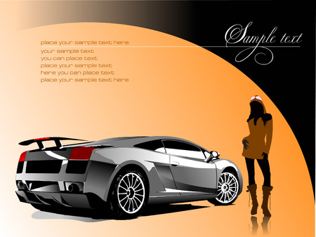 Automobile show with concept-car and girl. Vector illustration Stock Vector - 4105797