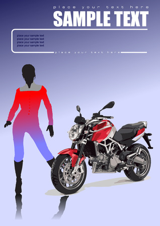 Motorcycle and girl. Vector illustration Vector