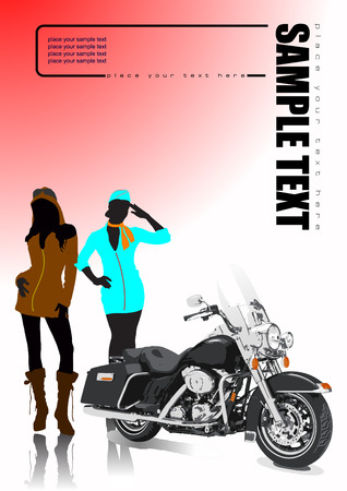 Motorcycle and two girls. Vector illustration Vector