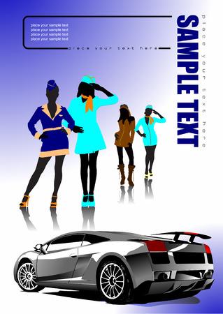 4 girls and car sedan. Vector illustration Stock Vector - 4183371