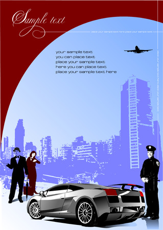 Cover for brochure with car image and people. Vector illustration Vector
