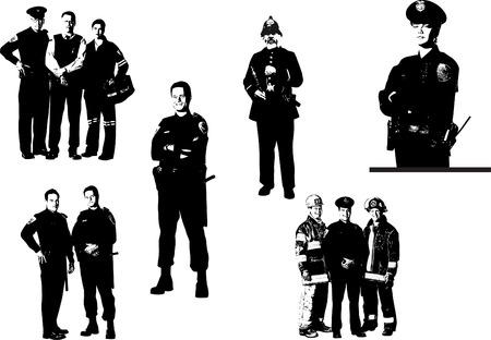 medical assistant: Siluetas de personas. Polic�as, bomberos, m�dico asistente. Ilustraci�n vectorial