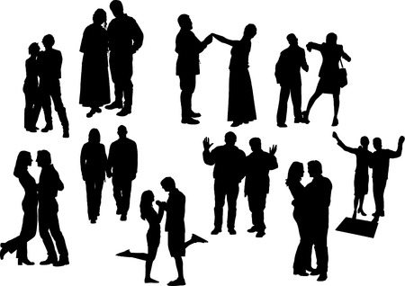 Black and white ten couples silhouettes. Vector illustration. One click color changed