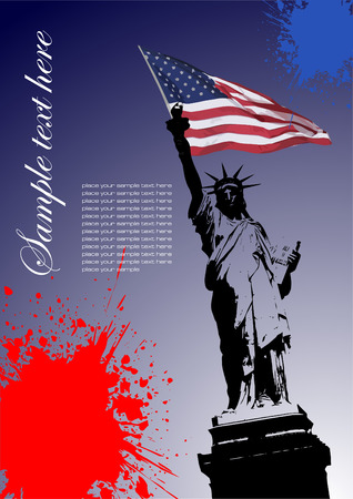 Cover for brochure with USA image and American flag Illustration