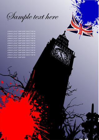 bandera de gran breta�a: Folleto con la cobertura de Inglaterra y Gran Breta�a imagen bandera Vectores