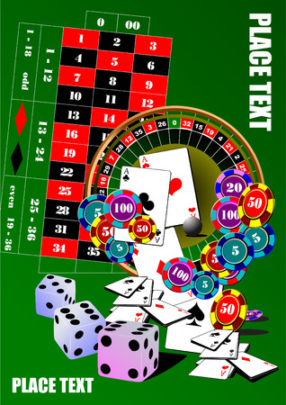 atlantic city: Roulette table and casino elements. Vector illustration