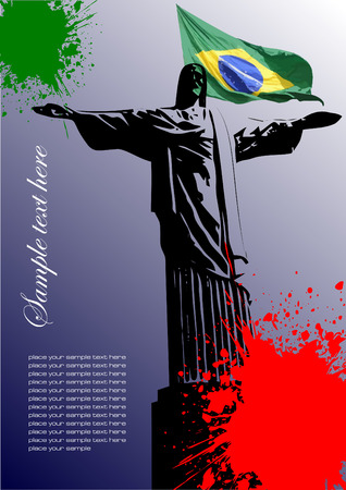 Cover for brochure with Brazilian image and Brazil flag Illustration