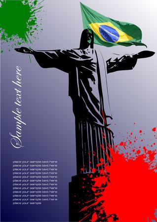 brazilian flag: Cover for brochure with Brazilian image and Brazil flag Illustration
