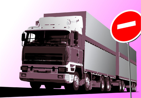 Vector illustration of truck. Pink lorry. Vector