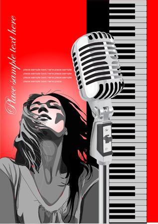 geigen: Cover f�r die Brosch�re mit Klavier, Mikrofon und S�nger Bild. Vector farbige Abbildung Illustration