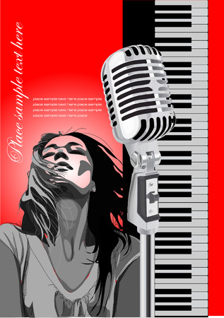 octave: Cover for brochure with piano, microphone and singer image. Vector colored illustration