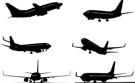 Six black and white Airplane silhouettes. One click color changed Vector